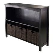 Winsome 3-Tier Shelf with Baskets, Wide, Espresso