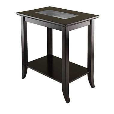 Winsome Genoa Rectangular End Table with Glass Top and Shelf, Espresso