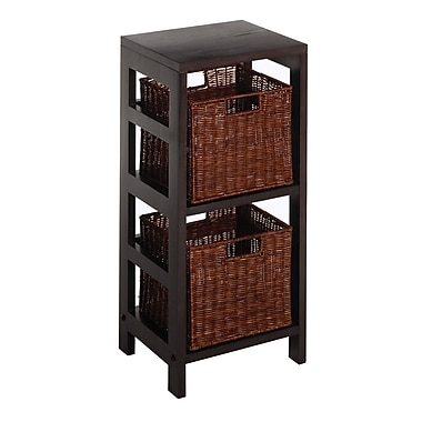 Winsome Leo 3-Piece Shelf and Baskets; One shelf, 2 Small Baskets, Espresso