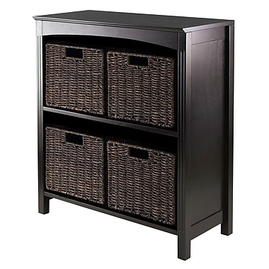 Winsome 3-Tier Shelf with 4 Small Baskets, Espresso