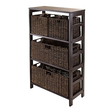 Winsome Granville 5-Piece Open Storage Shelf with 2 Large and 2 Small Foldable Baskets, Espresso