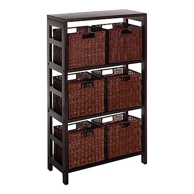 Winsome Leo 7-Piece Shelf and Baskets; 1 Shelf, 6 Small Baskets, Espresso