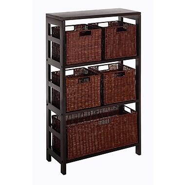 Winsome Leo 6-Piece Shelf and Baskets; Shelf, 4 Small and 1 Large Baskets, Espresso