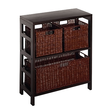 Winsome Leo 4-Piece Shelf with 3 Baskets; Shelf with 1 Large and 2 Small Baskets, Espresso