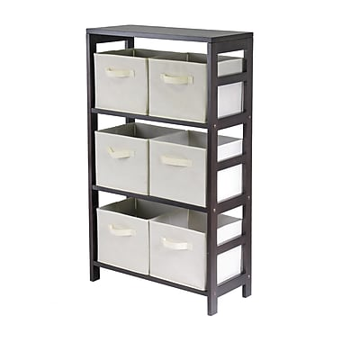 Winsome Capri 3-Section M Storage Shelf with 6 Foldable Beige Fabric Baskets, Espresso