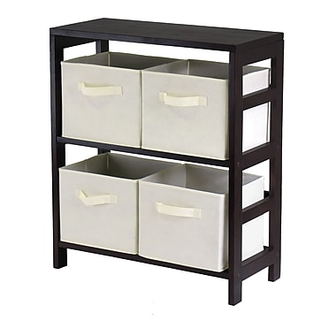 Winsome Capri 2-Section M Storage Shelf with 4 Foldable Fabric Baskets, Espresso