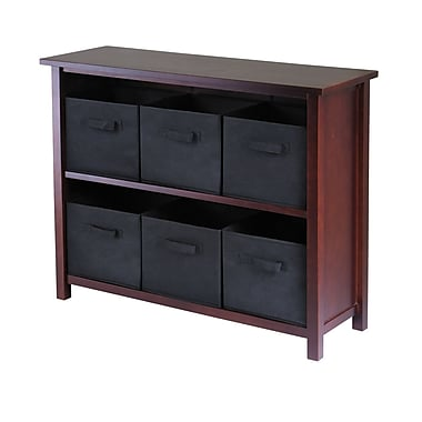 Winsome Verona 2-Section W Storage Shelf with 6 Foldable Black Fabric Baskets, Antique Walnut