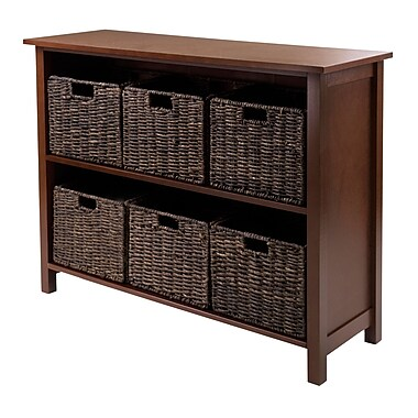 Winsome Granville 7-Piece Storage Shelf, 2-Section Wide with 6 Foldable Baskets, Antique Walnut