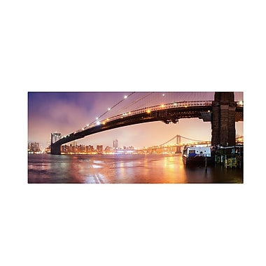 Trademark Fine Art 'Brooklyn Bridge Pano 1' 12in. x 32in. Canvas Art