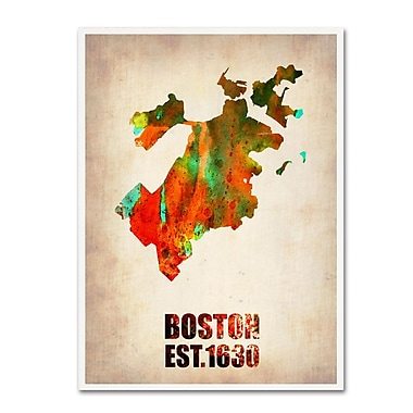 Trademark Fine Art 'Boston Watercolor Map' 24