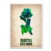"Trademark Fine Art 'Seattle Watercolor Map' 35"" x 47"" Canvas Art"