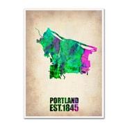 "Trademark Fine Art 'Portland Watercolor Map' 24"" x 32"" Canvas Art"