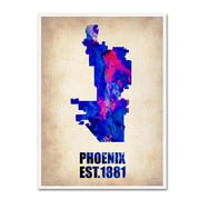 "Trademark Fine Art 'Phoenix Watercolor Map' 14"" x 19"" Canvas Art"