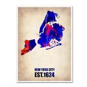 "Trademark Fine Art 'New York City Watercolor Map' 35"" x 47"" Canvas Art"