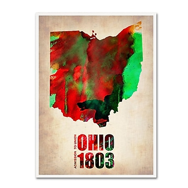 Trademark Fine Art 'Ohio Watercolor Map' 24