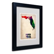 Trademark Fine Art 'Florida Watercolor Map' 11 x 14 Black Frame Art