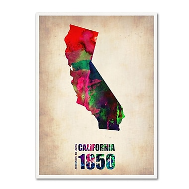 Trademark Fine Art 'California Watercolor Map' 14