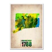 "Trademark Fine Art 'Connecticut Watercolor Map' 14"" x 19"" Canvas Art"