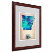 Trademark Fine Art 'Arkansas Watercolor Map' 16 x 20 Wood Frame Art