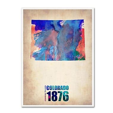 Trademark Fine Art 'Colorado Watercolor Map' 18