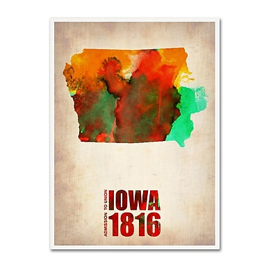 Trademark Fine Art 'Iowa Watercolor Map' 18