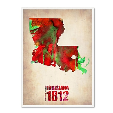 Trademark Fine Art 'Louisiana Watercolor Map' 24