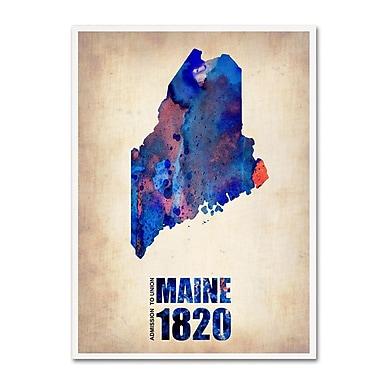 Trademark Fine Art 'Maine Watercolor Map' 14