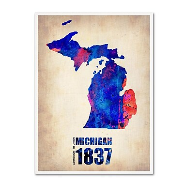 Trademark Fine Art 'Michigan Watercolor Map' 35