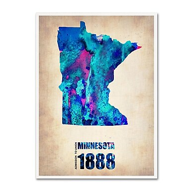 Trademark Fine Art 'Minnesota Watercolor Map' 18