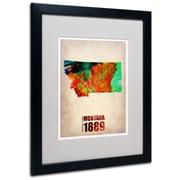 Trademark Fine Art 'Montana Watercolor Map' 16 x 20 Black Frame Art
