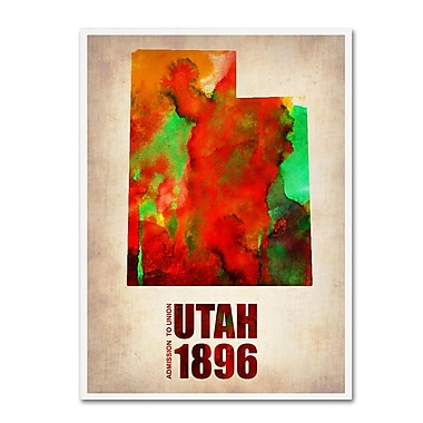 Trademark Fine Art 'Utah Watercolor Map' 14