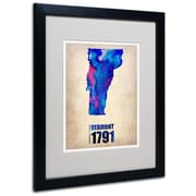 "Trademark Fine Art 'Vermont Watercolor Map' 16"" x 20"" Black Frame Art"