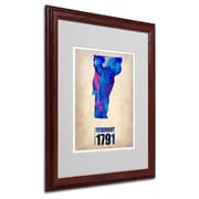 "Trademark Fine Art 'Vermont Watercolor Map' 16"" x 20"" Wood Frame Art"