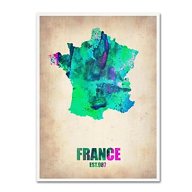 Trademark Fine Art 'France Watercolor Map' 14