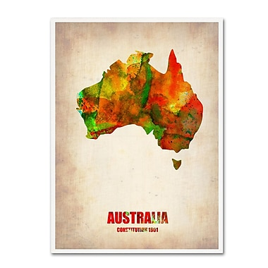 Trademark Fine Art 'Australia Watercolor Map' 35
