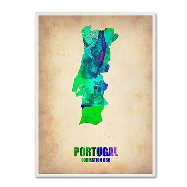 Trademark Fine Art 'Portugal Watercolor Map' 24