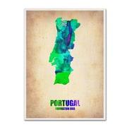 "Trademark Fine Art 'Portugal Watercolor Map' 18"" x 24"" Canvas Art"