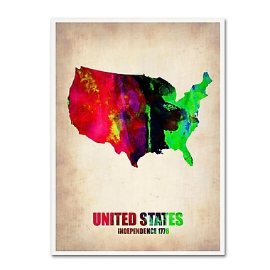 Trademark Fine Art 'United States Watercolor Map' 14