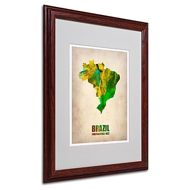 Trademark Fine Art 'Brazil Watercolor Map' 16