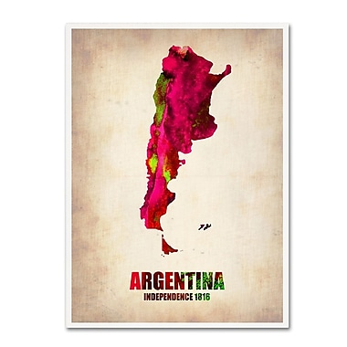 Trademark Fine Art 'Argentina Watercolor Map' 14