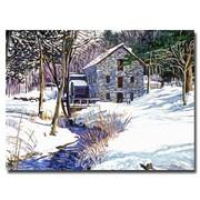 "Trademark Fine Art 'Snow Mill' 24"" x 32"" Canvas Art"