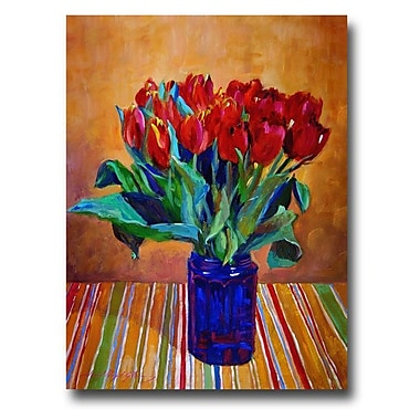 Trademark Fine Art 'Tulips in Blue Glass' 24