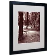 "Trademark Fine Art 'Jardin du Luxembourg Chairs' 16"" x 20"" Black Frame Art"