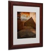 "Trademark Fine Art 'Stairway In Shadow and Light' 11"" x 14"" Wood Frame Art"