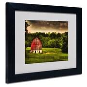 "Trademark Fine Art 'Summer Evening On the Farm' 11"" x 14"" Black Frame Art"