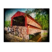 "Trademark Fine Art 'Old Covered Bridge' 22"" x 32"" Canvas Art"