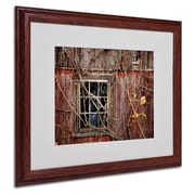 "Trademark Fine Art 'Old Barn Window' 16"" x 20"" Wood Frame Art"