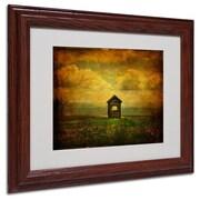 """Trademark Fine Art 'Field of Dandelions' 11"""" x 14"""" Wood Frame Art"""
