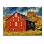 Trademark Fine Art 'Red Barn In Autumn' 35 x 47 Canvas Art
