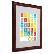 "Trademark Fine Art 'Alpha Bits Rainbow' 16"" x 20"" Wood Frame Art"